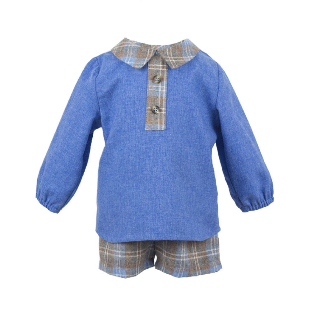 *SALE* Stunning Baby Boy Blue Grey Spanish Long Sleeve Shirt Suit Shorts